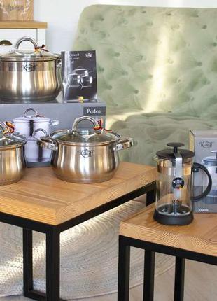 Набор посуды Krauff 6 предметов, в подарок Френч-пресс Krauff 1л