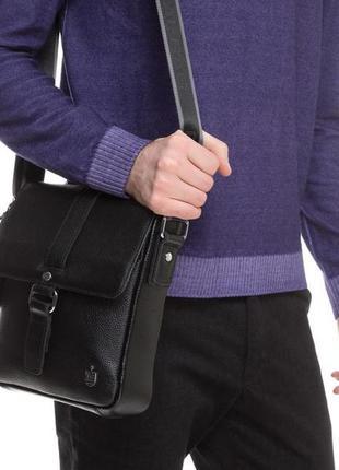 Мужская сумка через плечо качественная стильная натуральная кожа