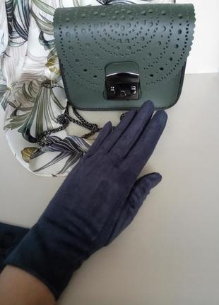 Перчатки серые замшевые сенсорные разные цвета и размеры