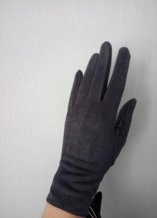 Черные замшевые сенсорные перчатки