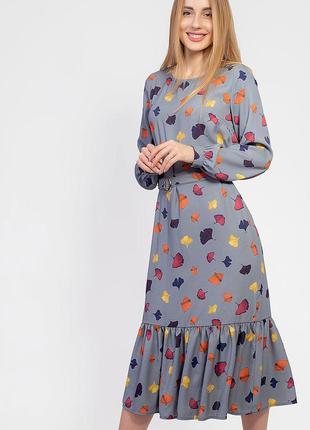 Весенне-летнее платье миди с рюшей 2945