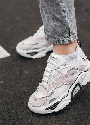 Calvin klein strike 205 white grey шикарные женские кроссовки ...