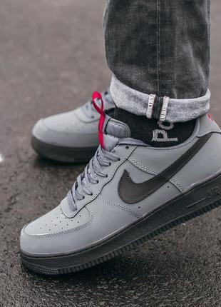 Nike air force 1 grey шикарные мужские кроссовки найк серые
