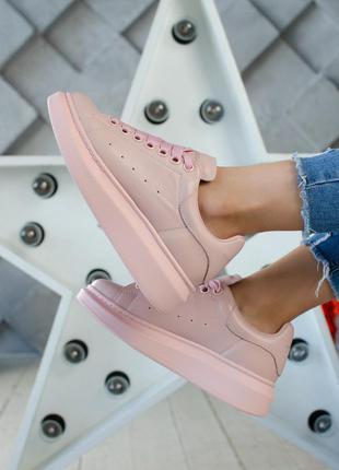 Alexander mcqueen pink шикарные женские кроссовки розовые