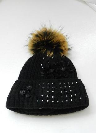 ✅зимняя шапка мех енот утеплитель флис украшена стразами