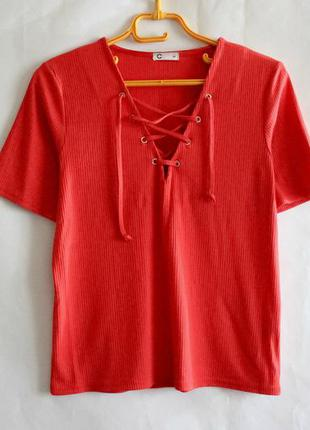 Красная футболка в рубчик cubus
