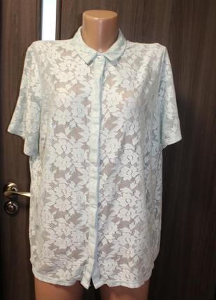 Мятная кружевная блузка george в идеальном состоянии 2xl