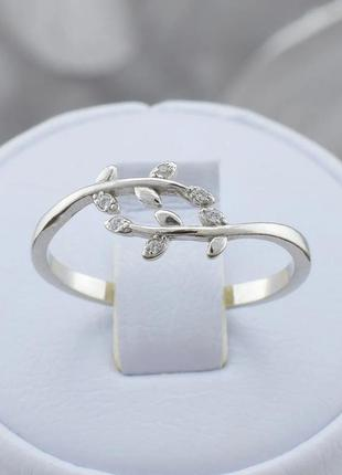 Серебряное кольцо веточка размер регулируемый 17-18
