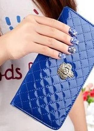 Женский стеганый кошелек с короной синий, розовый