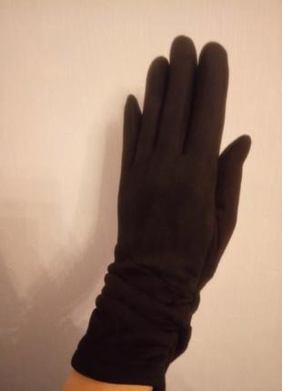 Замшевые утепленные перчатки большой размер
