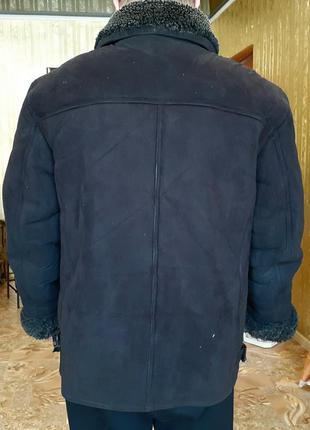 Дубленка искусственная мужская куртка черная большого размера