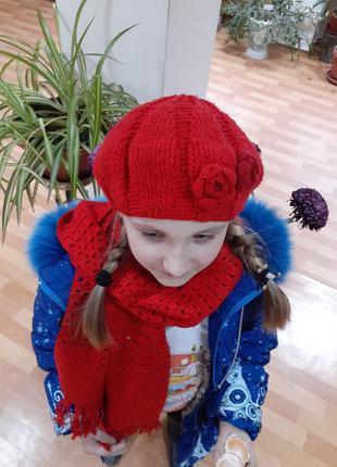 Берет с шарфом, ручная вязка крючком, розочка, беретик, шапка,...