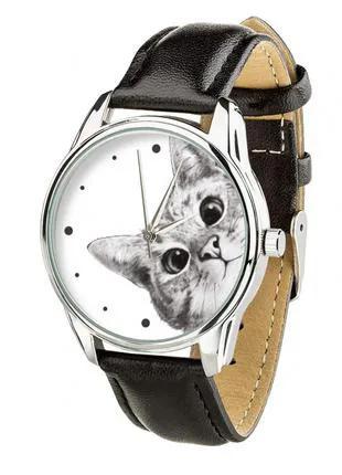 Часы ZIZ Эй, Кот ремешок насыщенно-черный, серебро