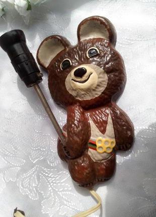 Олимпийский мишка ссср: настенный светильник (бра ночник) мета...