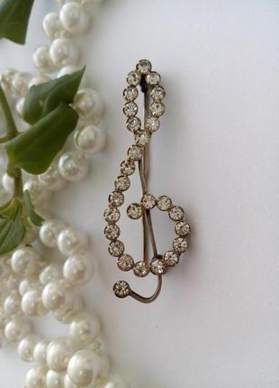 """""""скрипичный ключ"""": брошь, 1963 год, харьковский юз, серебряная..."""