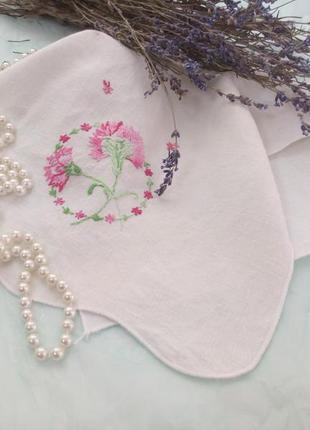 Салфетка (полотенце), льняная с ручной вышивкой винтажная текс...