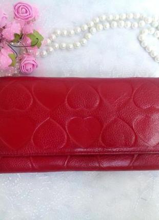 Кошелек genuine leather (натуральная кожа) красный