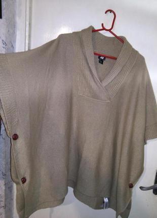 Тёплая,асимметрич.,camel,накидка -свитер-пончо,большого размер...
