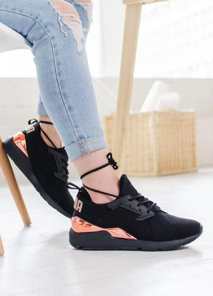 Puma muse x-2 metallic шикарные женские кроссовки пума черные