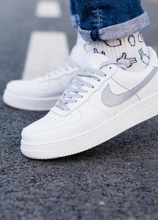 Nike air force 1 reflective шикарные женские кроссовки найк бе...