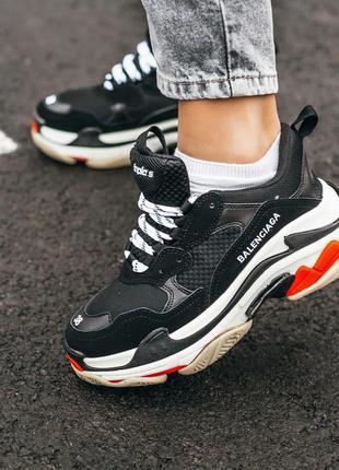 Balenciaga triple s black white шикарные женские кроссовки бал...