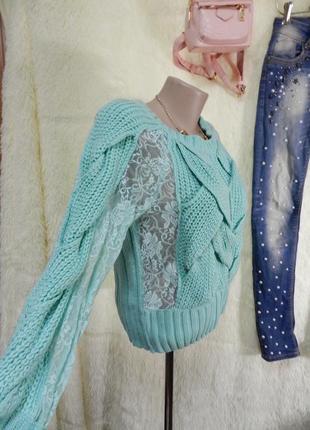 ⛔⛔бирюзовый свитерок с гипюром