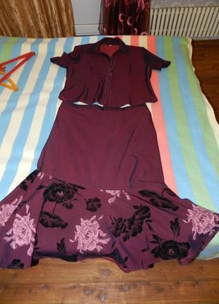 ⭐ 🔝костюм юбка брюки блуза и пиджак цвет марсала размер 52-54
