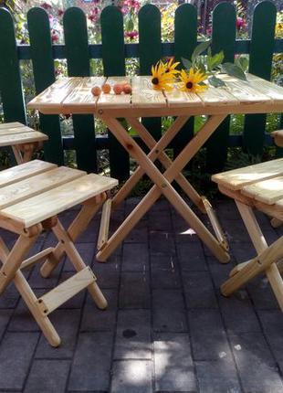 Стол и 4 стула раскладной садовый набор, деревянный, сосна