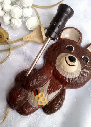 Олимпийский Мишка СССР: настенный светильник (бра ночник) металл