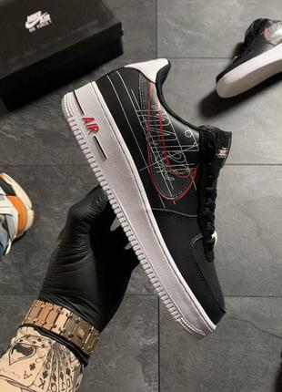 Nike air force 1 black white red .