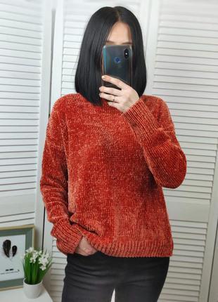 Велюровый свитерок терракотовый, р-р xs-s, primark