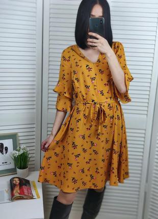 Платье в цветочный принт p-p uk 12/m-s, papaya