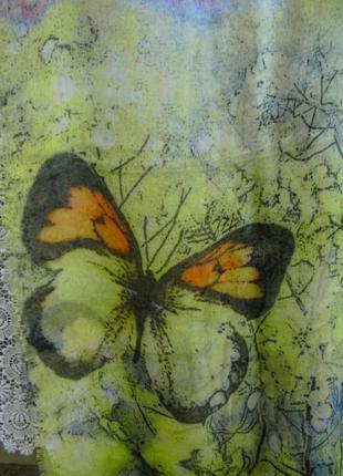 Красивый шарф палантин с бабочками