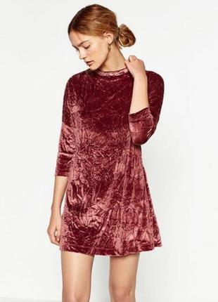 Бархатное прямое платье-футболка рукав 3\ 4