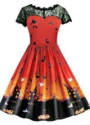 Платье карнавальное тыквы ведьмы летучие мыши halloween хэллоуин