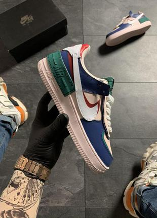 Nike air force 1 white green blue .