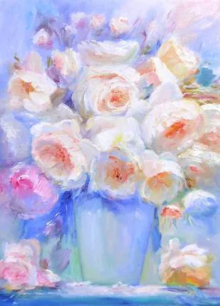 Картина маслом на холсте Белые розы есть в наличии