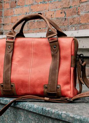 Кожаная сумка для ноутбука, красный кожаный портфель