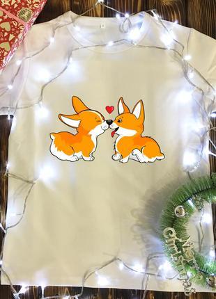 Мужская футболка с принтом - пара собачек