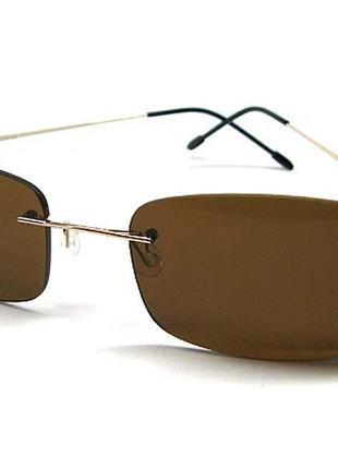 Очки прямоугольные солнцезащитные коричневые Avatar 18226 сн2