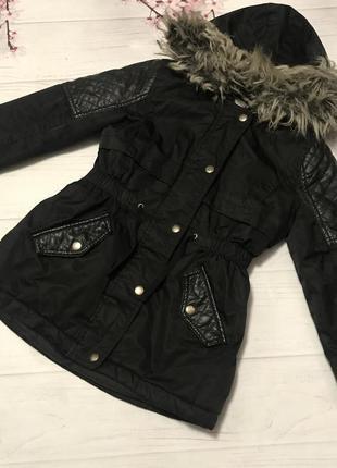 Куртка парка модная кожаные вставки  от tu