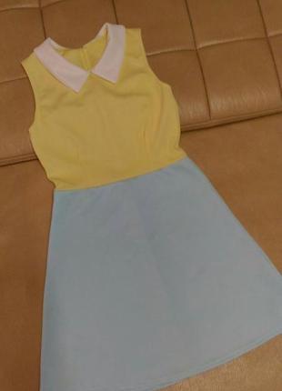 Платье жёлто-голубого цвета , р. 6