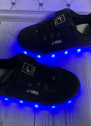 Led кроссовки fila, светящиеся кроссовки
