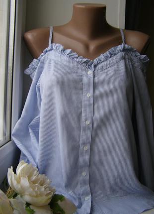 H&m блуза открытые плечи полоска 100% хлопок 36-размер