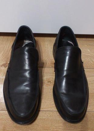 Туфли кожаные черные лоферы лофери туфлі шкіряні чорні vero cuoio