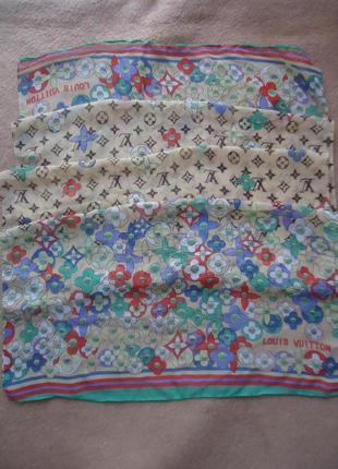 Шелковый шарф платок в стиле louis vuitton 48*148