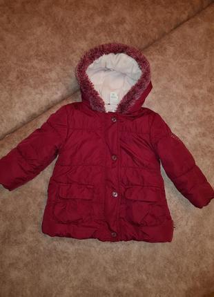 Теплая курточка на флисе для девочки baby club рост 80