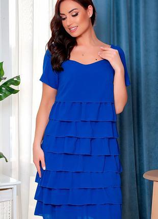 Трикотажное платье с шифоновыми рюшами до 60 размера