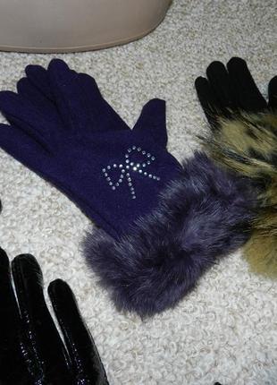 ✅!перчатки флис с натуральным мехом кролика