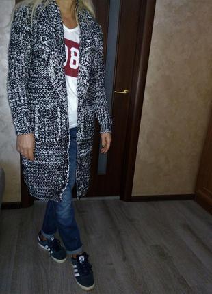 Натуральная кофта кардиган  тренч пальто  меланж крупной вязки...
